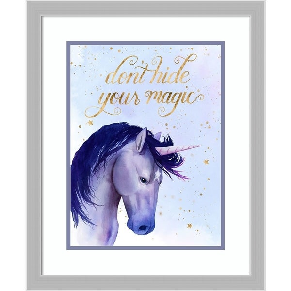 Framed Art Print 'Unicorn Universe II' by Grace Popp - 19x23-inch