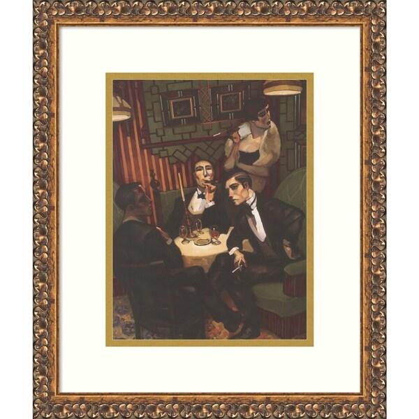 Framed Art Print 'Cigar, Cognac In The Salon' - 16x19-inch