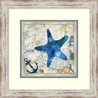 Framed Art Print 'Nautical Starfish' by Jill Meyer - 18x18-inch