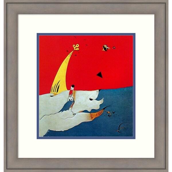 Framed Art Print 'Paysage (Landscape)' by Joan Miro - 22x23-inch