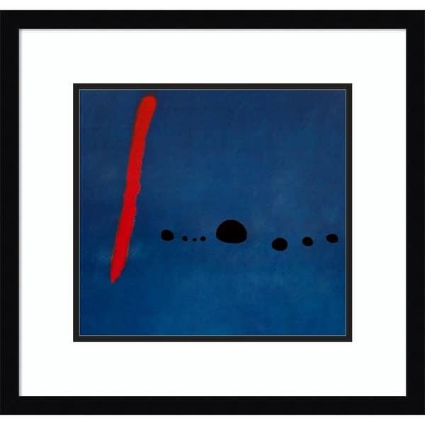 Framed Art Print 'Bleu II' by Joan Miro - Outer Size 20 x 19-inch