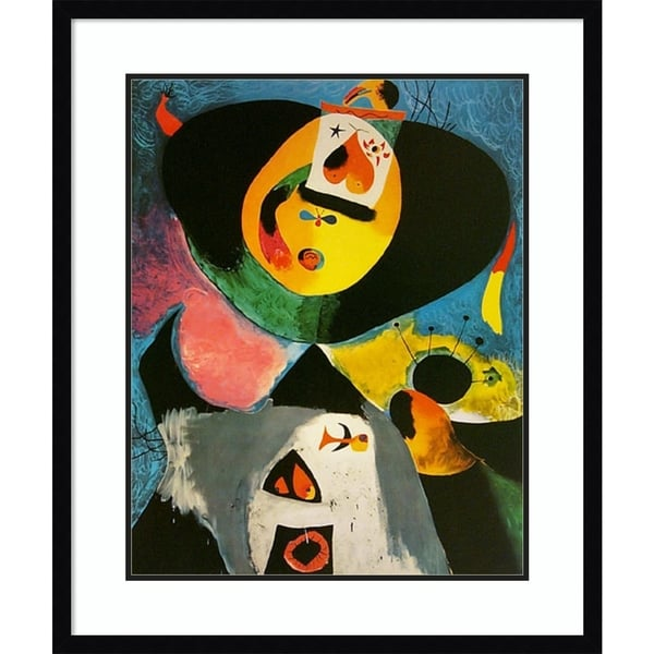 Framed Art Print 'Portrait No. 1' by Joan Miro - Outer Size 26x31-inch