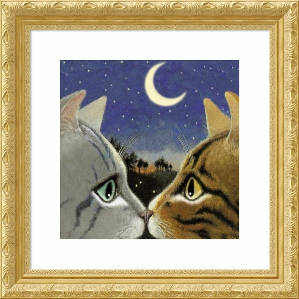 Framed Art Print 'Council of Kings Cat' by Laura Seeley - 23x23-inch
