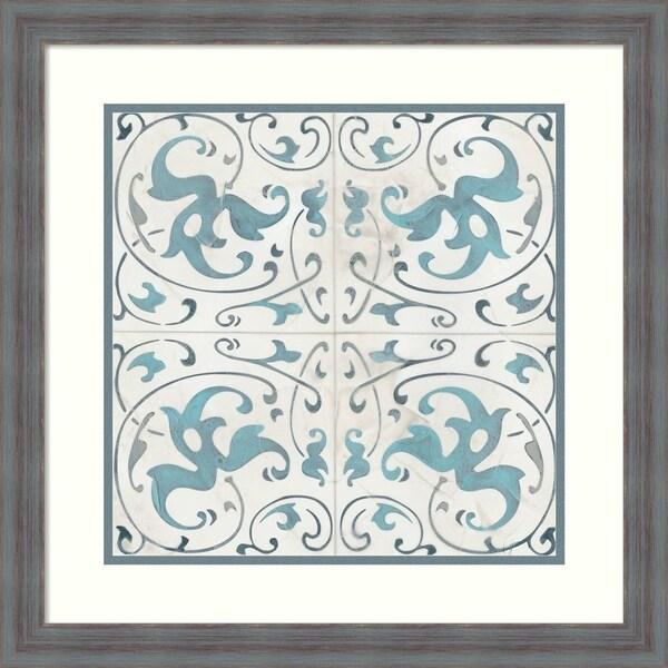 Framed Art Print 'Teal Tile Collection VIII' - 22x22-inch