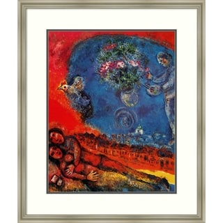 Framed Art Print 'Couple of Lovers on a Red Background' - 29x34-inch