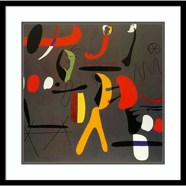 Framed Art Print 'Peintre Collage' by Joan Miro-Outer Size 25x25-inch