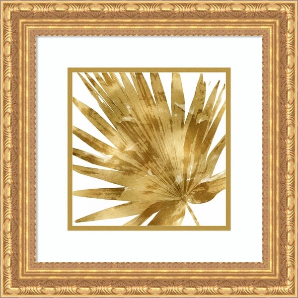 Framed Art Print 'Tropical Gold Palm IV' - 19x19-inch