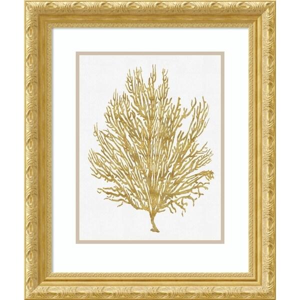 Framed Art Print 'Sea Life-Gold on White V' - 21x25-inch
