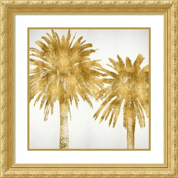 Framed Art Print 'Palms In Gold IV' by Kate Bennett - 28x28-inch