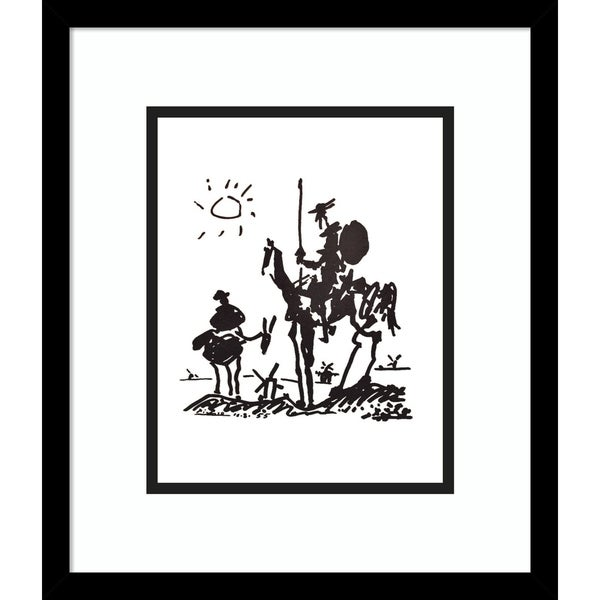 Framed Art Print 'Don Quixote' by Pablo Picasso-Outer Size 14x16-inch