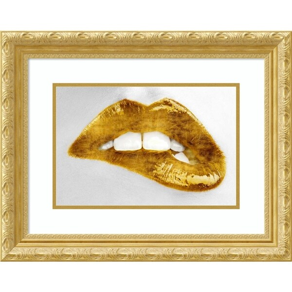 Framed Art Print 'Luscious Gold Lips' by Sarah Mcguire - 24x19-inch