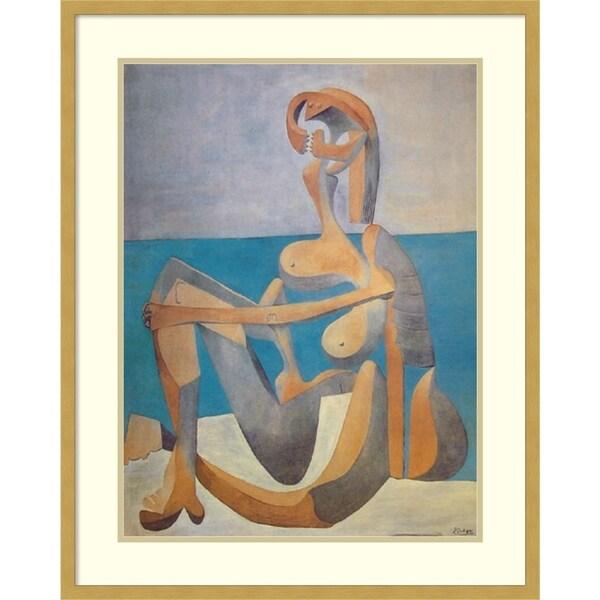 Framed Art Print 'Baigneuse Assise au Bord de la Mer, 1930' - 25x31
