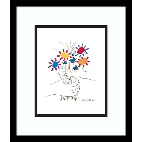 Framed Art Print 'Fleurs' by Pablo Picasso - Outer Size 14 x 16-inch