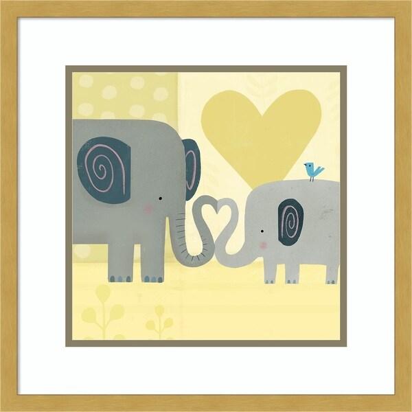 Framed Art Print 'Mama and Me III Elephants' - 18x18-inch