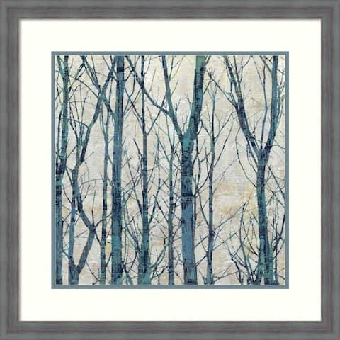 Framed Art Print 'Through The Trees-Blue I' - 26x26-inch