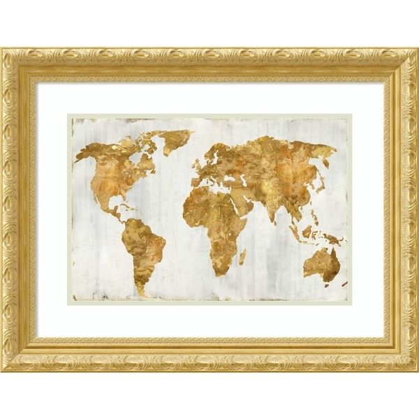 Framed Art Print 'The World In Gold' by Russell Brennan - 27x21-inch
