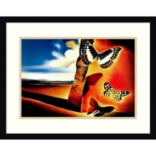 Framed Art Print 'Landscape with Butterflies' - 24x18