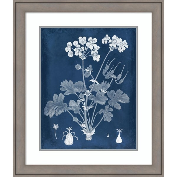 Framed Art Print 'Botanical in Indigo III' - 23x27-inch