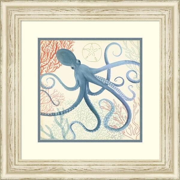 Framed Art Print 'Underwater Whimsy III Octopus' - 21x21-inch