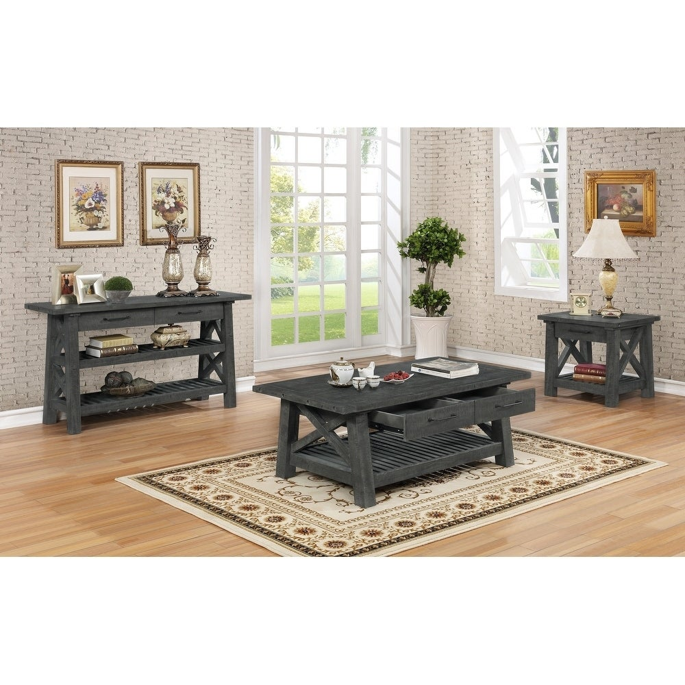- Shop Best Quality Furniture 4-Piece Grey Rustic Coffee Table, 2
