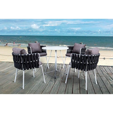 LeisureMod Spencer Rope 5 Piece Outdoor Patio Bistro Set with Cushions