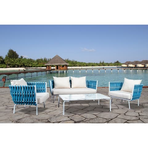 LeisureMod Spencer Rope 4 Piece Outdoor Conversation Set with Cushions