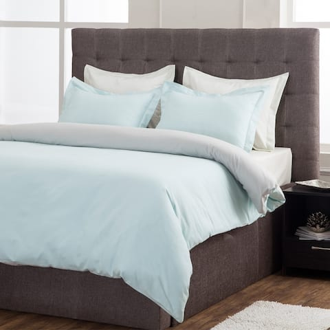 Grant Reversible 100% Cotton Oversize Duvet Cover Set With Matching Pillow Shams - Full/Queen