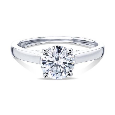 Annello by Kobelli 14k Gold 1ct Round Moissanite Solitaire Volutes W-Prongs Engagement Ring (GH/VS)