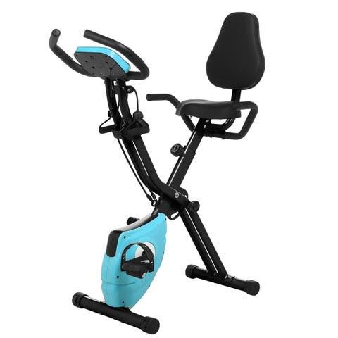 Folding 10 Levels Magnetic Resistance Upright Exercise Bike With Backrest Pad