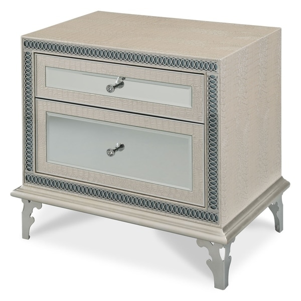 Hollywood Swank Crystal Croc Upholstered Nightstand