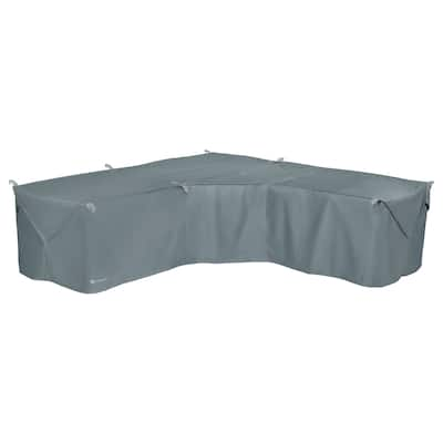 Classic Accessories Storigami Water-Resistant 100 Inch Easy Fold Patio V-Shaped Sectional Lounge Set Cover,Monument Grey