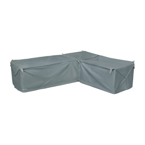 Storigami Water-Resistant 104 Inch Easy Fold Patio Right-Facing Sectional Lounge Set Cover, Monument Grey