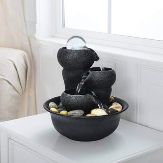 Relaxation 3-Tier Flowing Bowls Table Fountain with LED Light and Ball