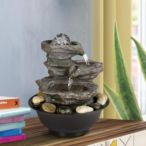 "3 Tier Rock Fall Tabletop Zen Fountain 11 2/5"" with LED Light for Home"