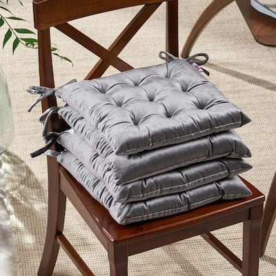 Foxhall Tufted Velvet Dining Chair Cushions (Set of 4) by Christopher Knight Home