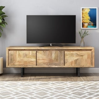 Link to Girard Boho Handcrafted Mango Wood TV Stand by Christopher Knight Home Similar Items in TV Stands & Entertainment Centers