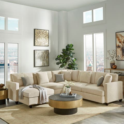 Andras Dark Brown Finish Ivory Fabric 5-seater Sectional with Chiase by iNSPIRE Q Classic