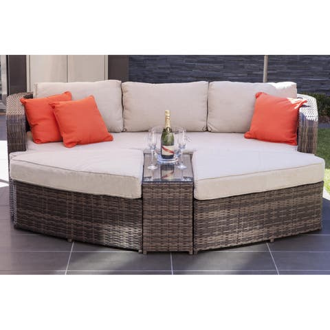 La Mesa Outdoor 4-Piece Patio Wicker Daybed Sectional Sofa Set by Direct Wicker