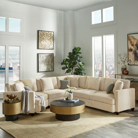 Andras Dark Brown Finish Ivory Fabric 5-Seater Sectional by iNSPIRE Q Classic
