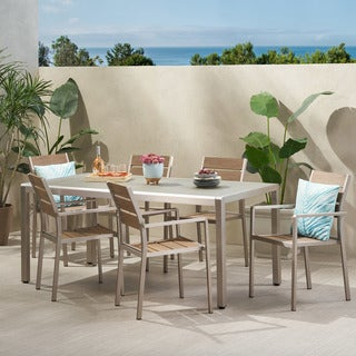 Link to Cape Coral Outdoor Modern 6 Seater Aluminum Dining Set with Tempered Glass Table Top by Christopher Knight Home Similar Items in Patio Furniture