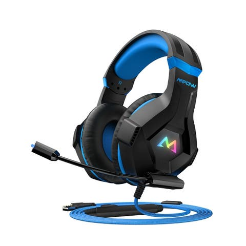 MPOW EG9 Stereo Gaming Headset with Mic 40mm Drivers Surround Sound In-line Control PC PS4 Headset RGB LED Gaming Headphone