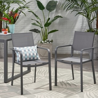 Madison Outdoor Modern Aluminum Dining Chair with Mesh Seat (Set of 2) by Christopher Knight Home