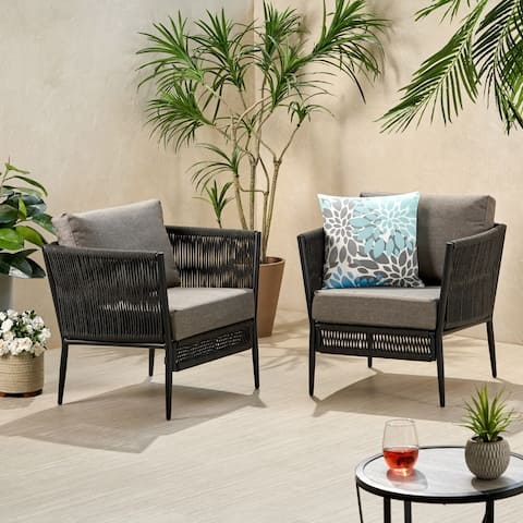Handford Outdoor Rope Club Chair with Cushions (Set of 2) by Christopher Knight Home