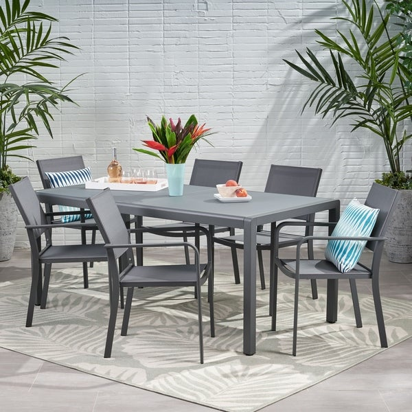 Gaven Outdoor 6 Seater Aluminum Dining Set with Tempered Glass Table Top by Christopher Knight Home