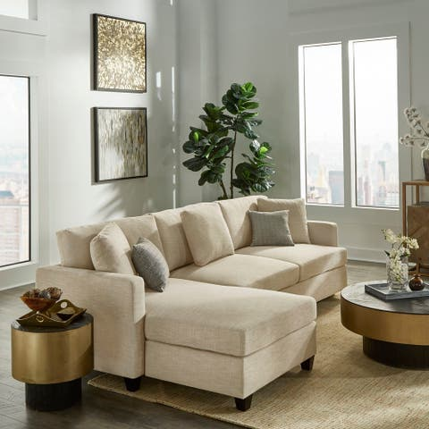 Andras Ivory Taupe Fabric Sectional with Chaise by iNSPIRE Q Classic