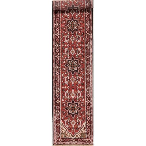 """Heriz Indian Carpet Traditional Hand-Knotted Oriental Wool Rug - 12'5"""" X 2'7"""" Runner"""