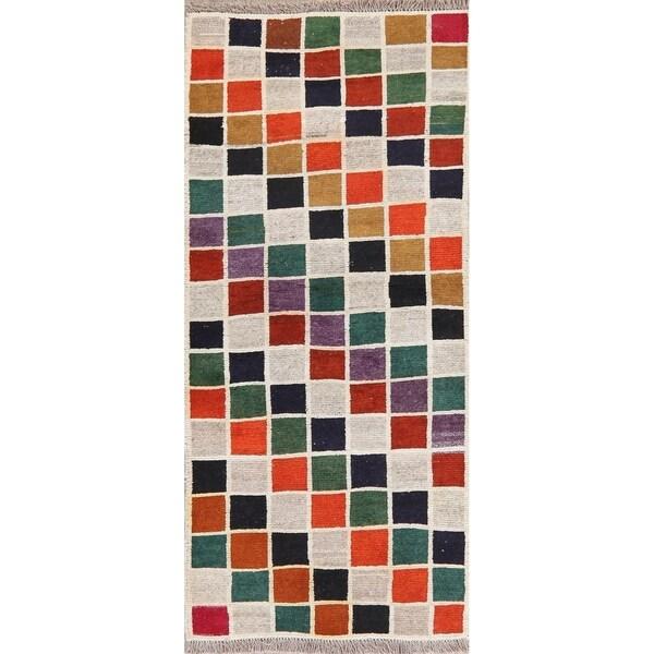"Handknotted Color Block Vintage Gabbeh Shiraz Geometric Persian Rug - 5'8"" X 2'6"" Runner"