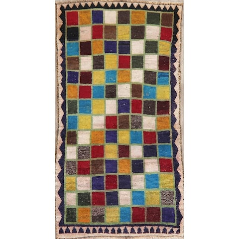 """Hand Knotted Gabbeh Shiraz Low Pile Carpet Checked Persian Worn Rug - 5'9"""" X 3'1"""" Runner"""