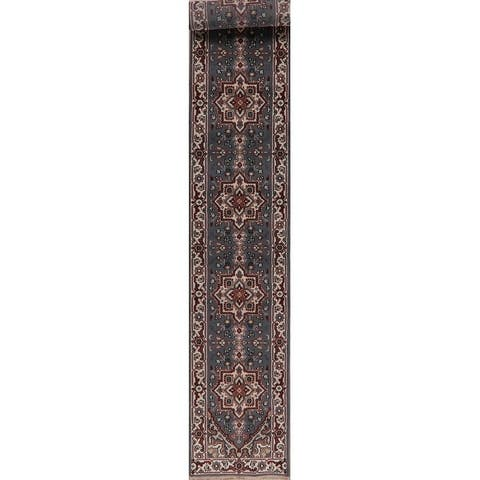 """Oriental Carpet Traditional Heriz Indian Rug Hand-Knotted - 19'1"""" X 2'7"""" Runner"""