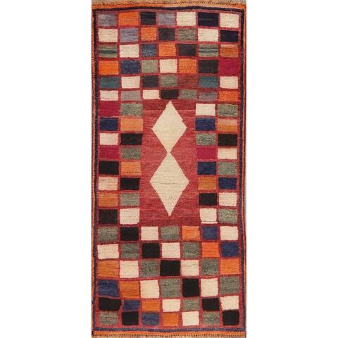 "Vintage Persian Hand Knotted Rug Gabbeh Shiraz Color Block Carpet - 5'9"" X 2'8"" Runner"